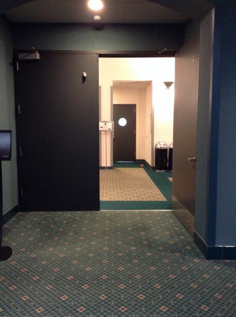 Double doors that lead to larger room outside of West Coast Room.
