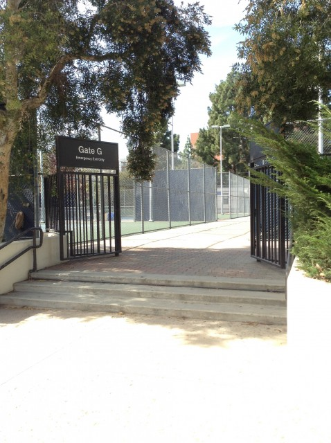 Gate G entrance from turnaround/driveway behind Pauley