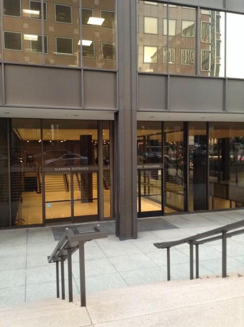 Left side entrance, on Glendon Ave