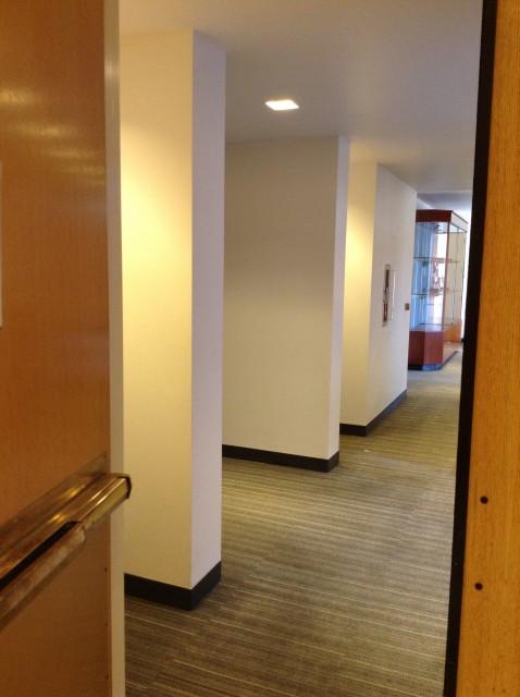 Enter thru door to access restrooms and room 224