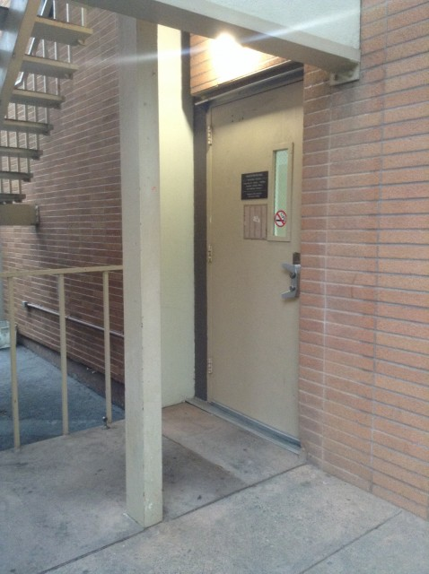 Stairs access and north entrance to building