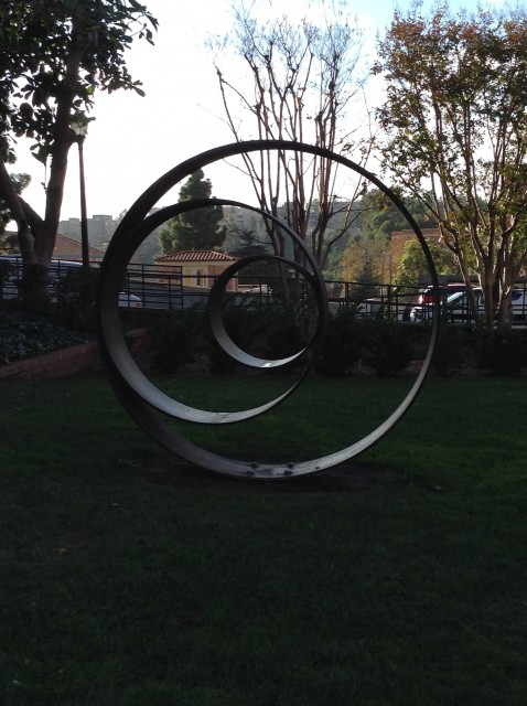 This sculpture is located in humanities courtyard