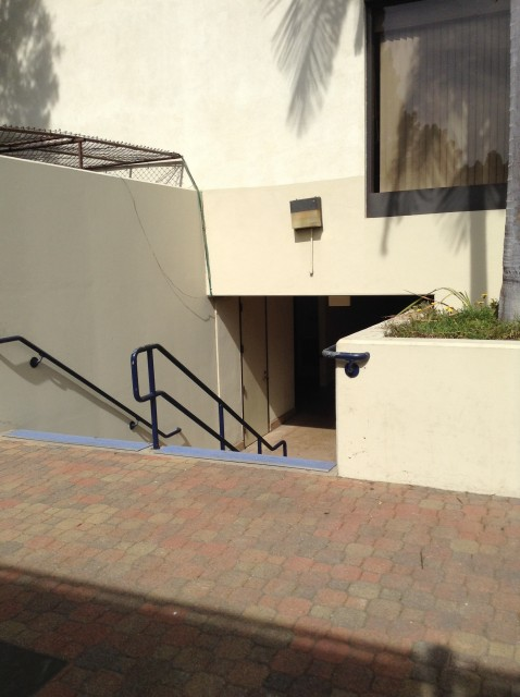 Stairs leading to restrooms